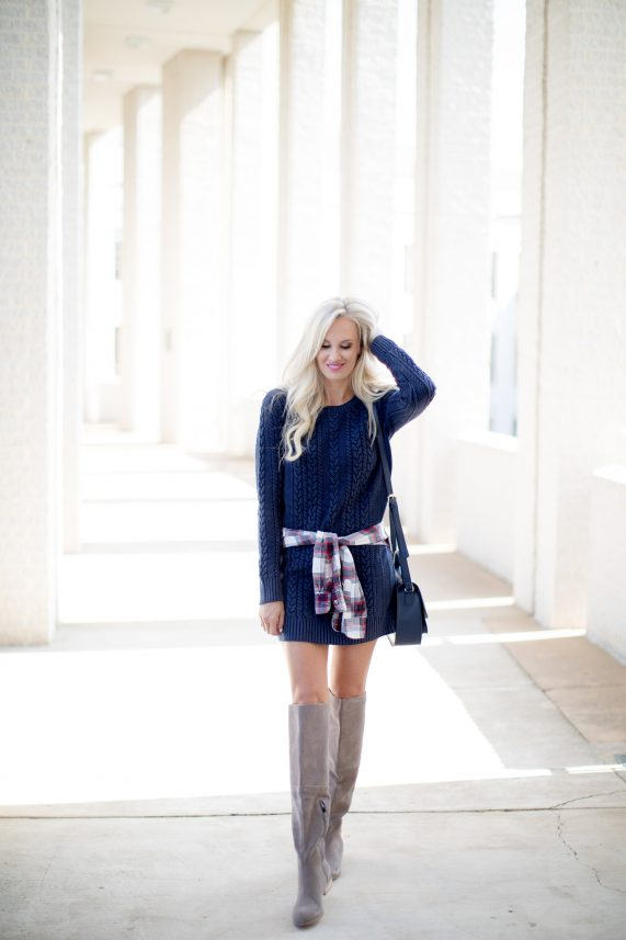 Cable Knit Sweater Dress + Knee High Boots