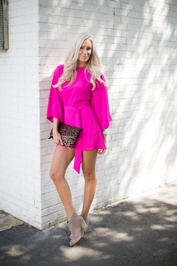 Pink Kimono Romper + Leopard Clutch