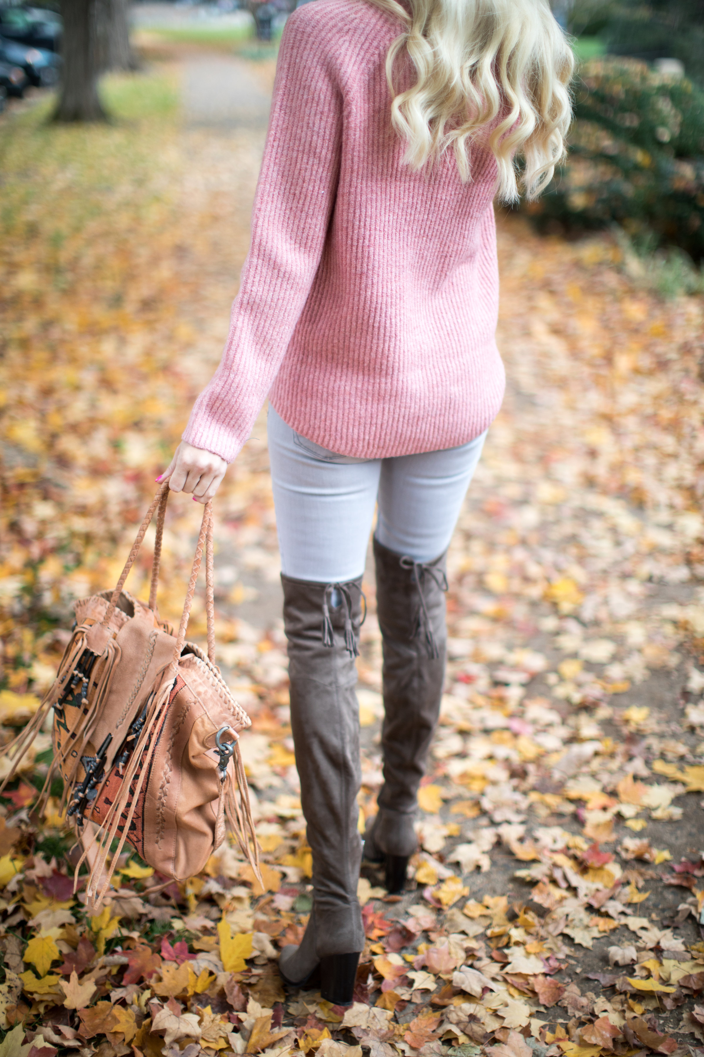 Pink Sweater Over The Knee Boots Mckenna Bleu