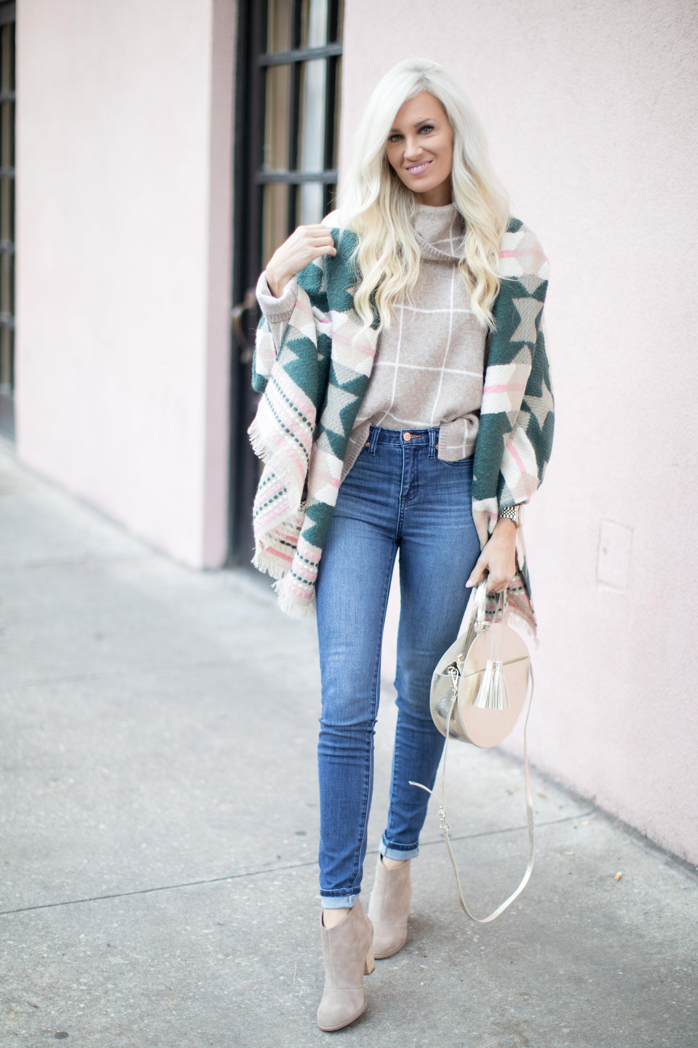 Windowpane Turtleneck Sweater Colorful Blanket Scarf