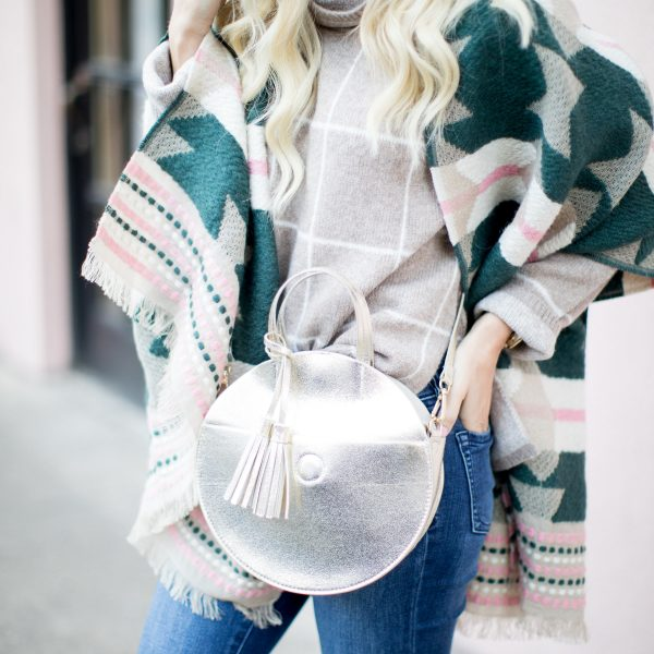 Windowpane Turtleneck Sweater + Colorful Blanket Scarf