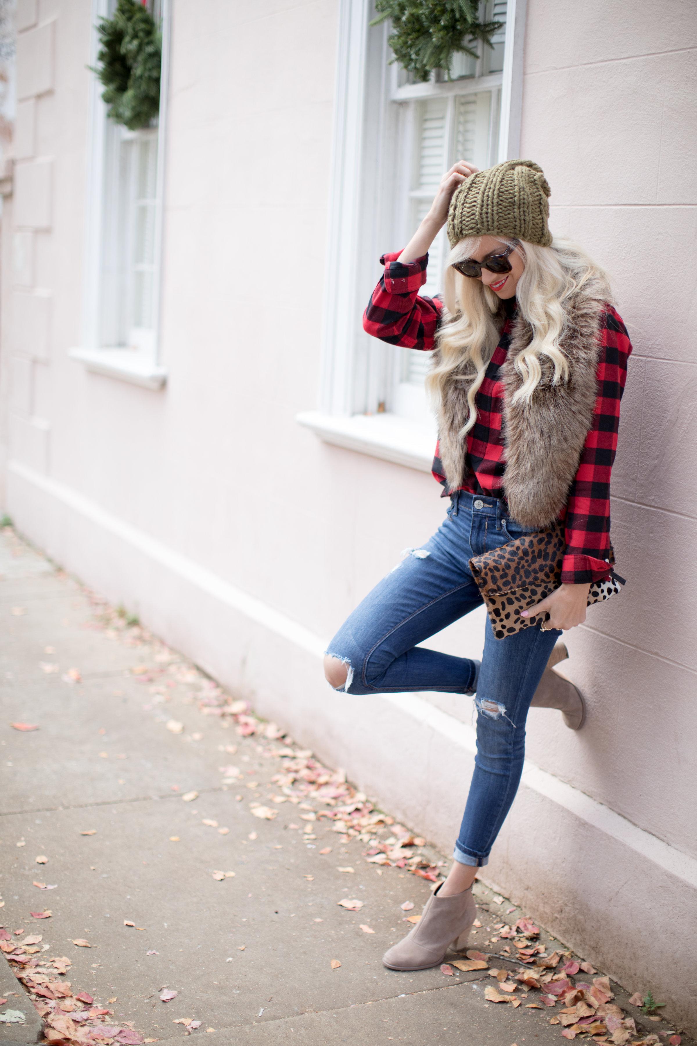 Buffalo Plaid + Faux Fur, Casual Winter Style
