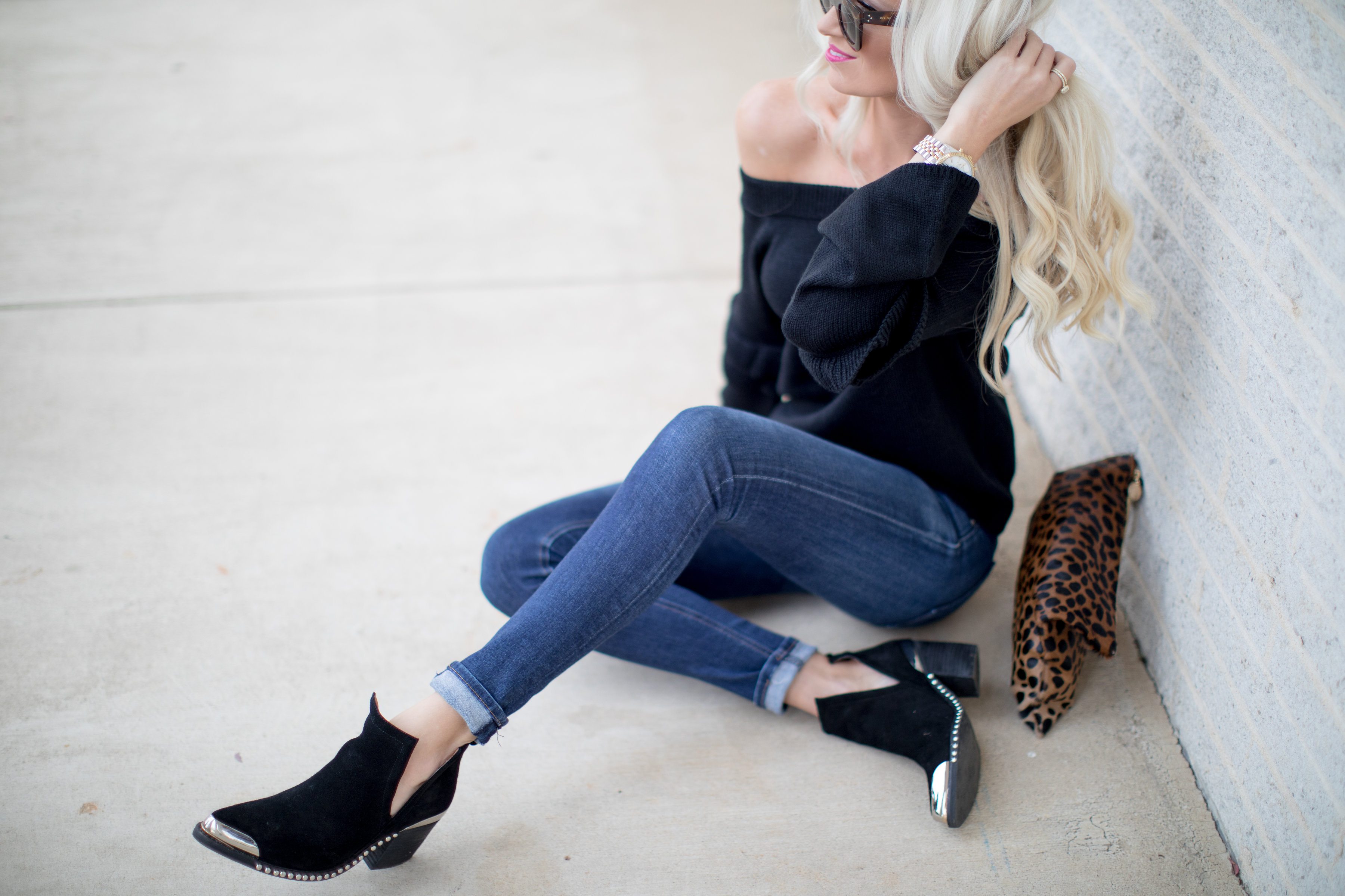 Off the Shoulder Black Sweater with Ruffle Detail