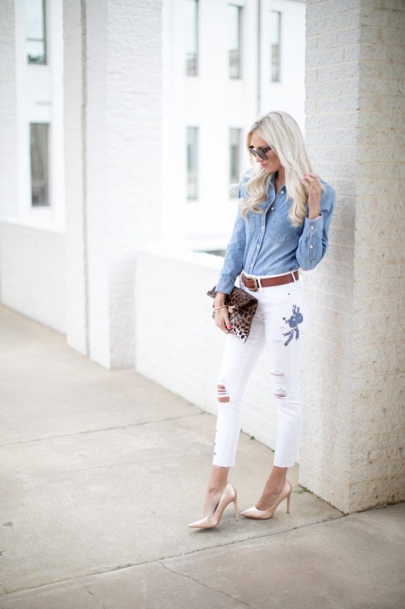 White Denim + Chambray Top